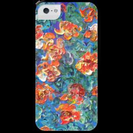 """Чехол для iPhone 5 с подставкой, с полной запечаткой """"Настурции"""" - красиво, лето, red, summer, beautiful, аромат"""