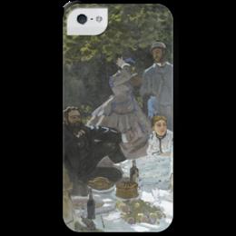 "Чехол для iPhone 5 с подставкой, с полной запечаткой ""Завтрак на траве (Клод Моне) 1866"" - картина, моне"