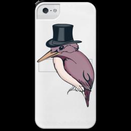 """Чехол для iPhone 5 с подставкой, с полной запечаткой """"Hipster bird"""" - hat, bird, hipster, texture, beak"""