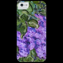 """Чехол для iPhone 5 с подставкой, с полной запечаткой """"Улыбка весны"""" - арт, девушке, листва, spring, сирень, lilac"""