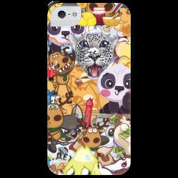 """Чехол для iPhone 5 с подставкой, с полной запечаткой """"стикерs"""" - авторское, вк, стикеры"""