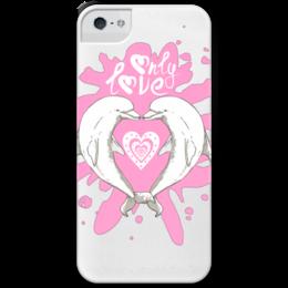 """Чехол для iPhone 5 с подставкой, с полной запечаткой """"Влюбленные Дельфины"""" - сердце, любовь, влюбленные, дельфины, only love"""