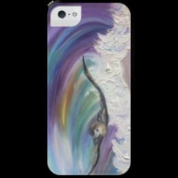 """Чехол для iPhone 5 с подставкой, с полной запечаткой """"Шторм"""" - красиво, море, волна, bird, sea, storm, шторм, wave"""