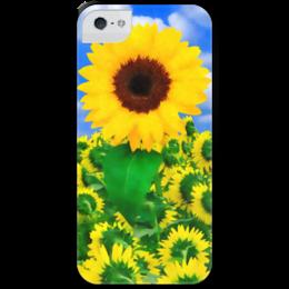 "Чехол для iPhone 5 с подставкой, с полной запечаткой ""Подсолнух"" - лето, цветок, небо, облака, подсолнух"