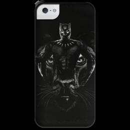 """Чехол для iPhone 5 с подставкой, с полной запечаткой """"Черная пантера"""" - комиксы, марвел, черная пантера, black panther"""