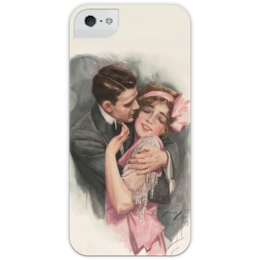 """Чехол для iPhone 5 с подставкой, с полной запечаткой """"День Святого Валентина"""" - арт, настроение, винтаж, 14фев, harrison fisher"""
