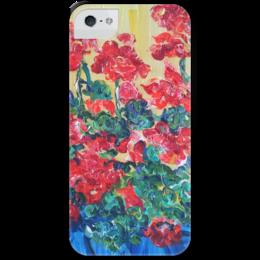 """Чехол для iPhone 5 с подставкой, с полной запечаткой """"Герань"""" - красиво, red, flowers, люблю цветы, очаровательно"""