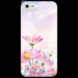 """Чехол для iPhone 5 с подставкой, с полной запечаткой """"Цветочки"""" - цветы"""