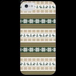 """Чехол для iPhone 5 с подставкой, с полной запечаткой """"Скандинавский узор"""" - узор, зима, орнамент, олень, снежинка"""