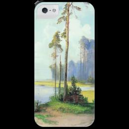 """Чехол для iPhone 5 с подставкой, с полной запечаткой """"Летний пейзаж. Сосны."""" - картина, саврасов"""