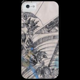 """Чехол для iPhone 5 с подставкой, с полной запечаткой """"Пустырник"""" - арт, в подарок, акварель, drawing, motherwort, herb, травянистое растение"""