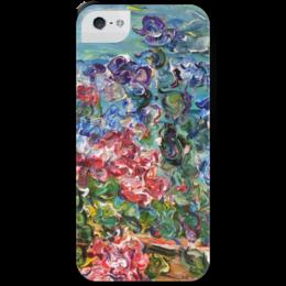 """Чехол для iPhone 5 с подставкой, с полной запечаткой """"Петуния"""" - красиво, лето, summer, цветочки"""