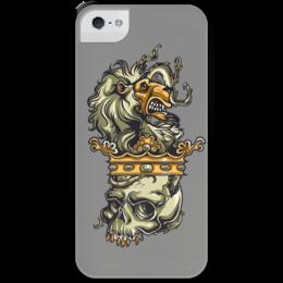 """Чехол для iPhone 5 с подставкой, с полной запечаткой """"Череп и лев"""" - череп, корона, лев"""