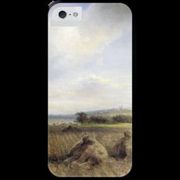 """Чехол для iPhone 5 с подставкой, с полной запечаткой """"К концу лета на Волге"""" - картина, саврасов"""