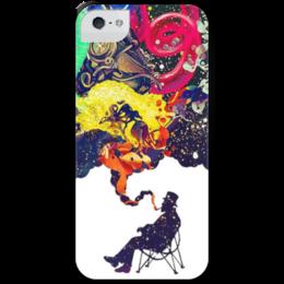 """Чехол для iPhone 5 с подставкой, с полной запечаткой """"Креатив"""" - человек, рисунки, дым, стул, креативное мышление"""