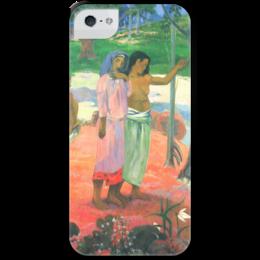 """Чехол для iPhone 5 с подставкой, с полной запечаткой """"Зов (""""The Call"""")"""" - картина, поль гоген"""
