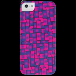 """Чехол для iPhone 5 с подставкой, с полной запечаткой """"Прямоугольники"""" - черный, красный, синий, край, прямоугольник"""