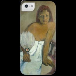 """Чехол для iPhone 5 с подставкой, с полной запечаткой """"Девушка с веером"""" - картина, поль гоген"""