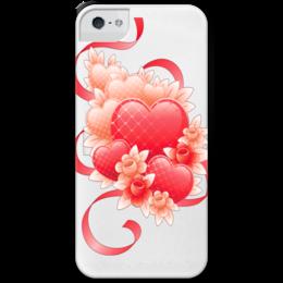 """Чехол для iPhone 5 с подставкой, с полной запечаткой """"Любимой на 14 февраля"""" - цветы, 14фев"""