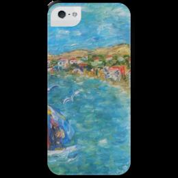 """Чехол для iPhone 5 с подставкой, с полной запечаткой """"Казантип"""" - summer, море, казантип, sea, beach, чайки"""