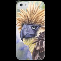 """Чехол для iPhone 5 с подставкой, с полной запечаткой """"Филиппинский орел """" - животные, птица, орел, иллюстрация, перья"""