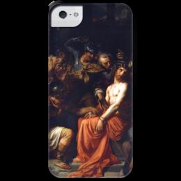 """Чехол для iPhone 5 с подставкой, с полной запечаткой """"Поругание Христа (Картина Кабанеля)"""" - картина, кабанель"""