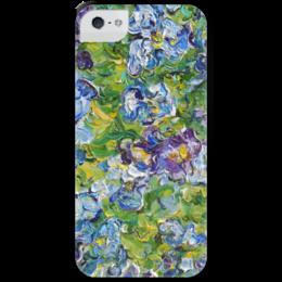 """Чехол для iPhone 5 с подставкой, с полной запечаткой """"Анютины глазки"""" - лето, summer, green, ярко, зеленый, синий, цветочки, blue, красочно, анютины глазки"""
