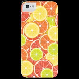 """Чехол для iPhone 5 с подставкой, с полной запечаткой """"Цитрусы"""" - апельсин, лайм, лимон, грейпфрут, дольки"""