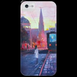 """Чехол для iPhone 5 с подставкой, с полной запечаткой """"На встречу судьбе"""" - девушка, girl, night, город, картина, city, трамвай, tram, кристина нгуен"""