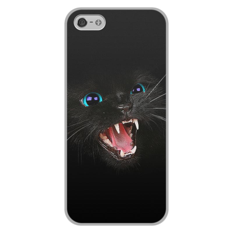 Чехол для iPhone 5/5S, объёмная печать Printio Черная кошка