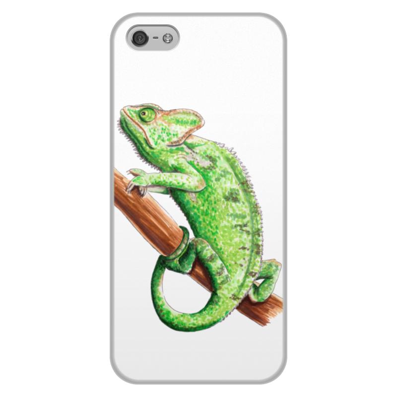 лучшая цена Чехол для iPhone 5/5S, объёмная печать Printio Зеленый хамелеон на ветке
