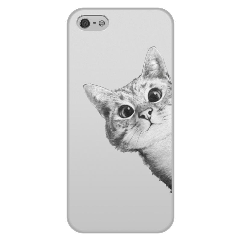 Чехол для iPhone 5/5S, объёмная печать Printio Любопытный кот чехлы для телефонов chocopony чехол для iphone 5 5s недовольный кот в очках