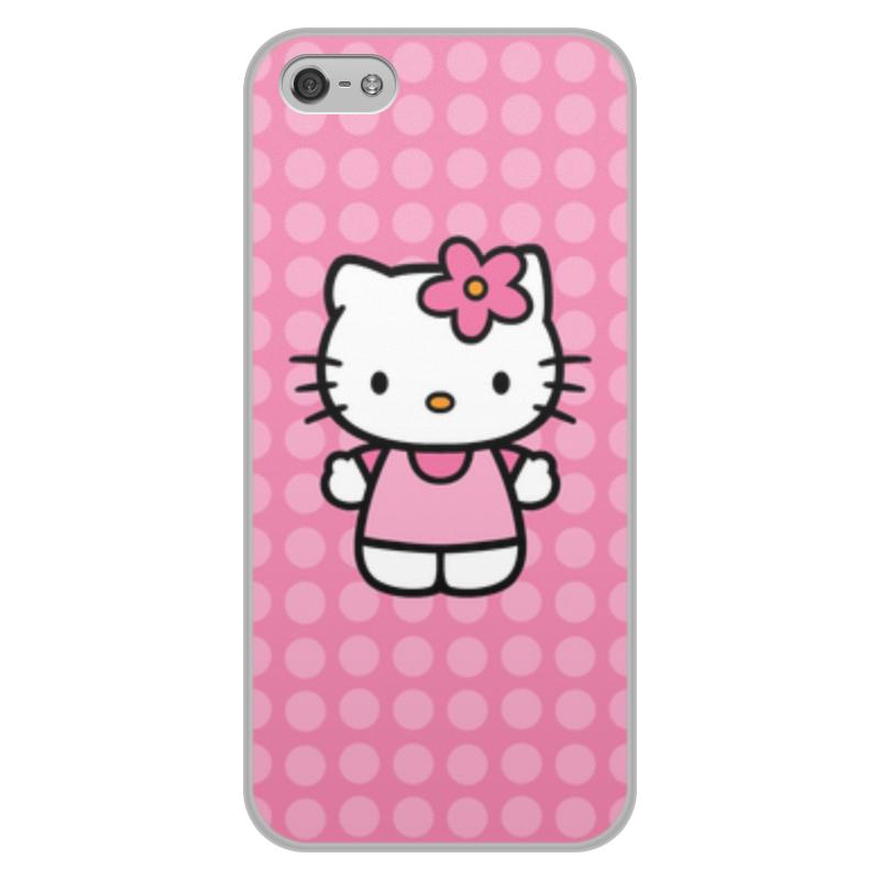Чехол для iPhone 5/5S, объёмная печать Printio Kitty в горошек цена