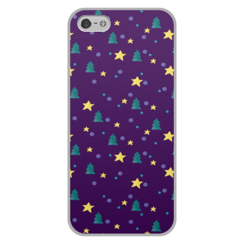 Чехол для iPhone 5/5S, объёмная печать Printio Елки и звезды