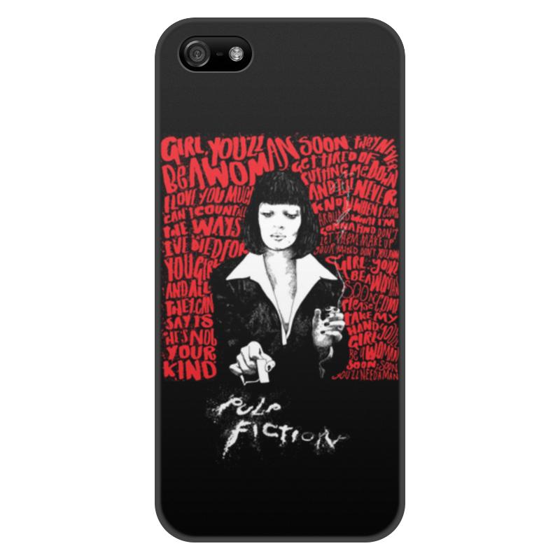 лучшая цена Чехол для iPhone 5/5S, объёмная печать Printio Pulp fiction (ума турман)