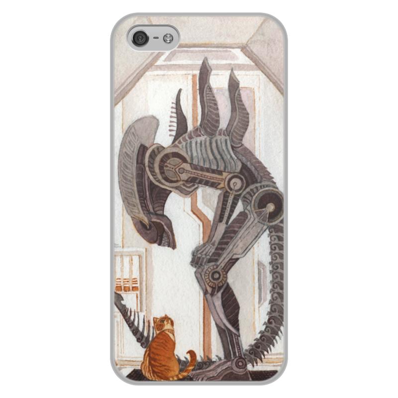Чехол для iPhone 5/5S, объёмная печать Printio Чужой и котик цена и фото