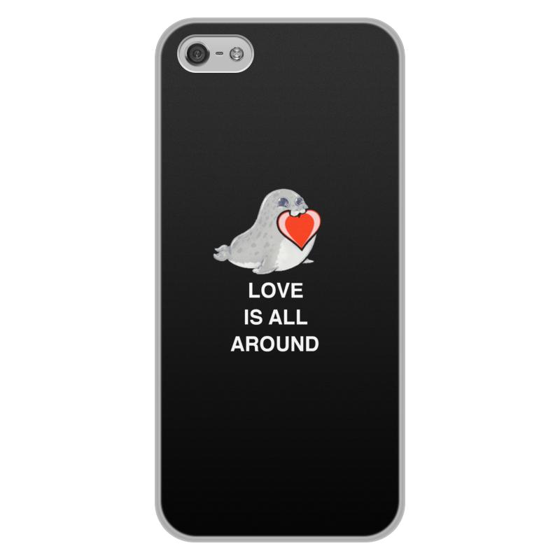 Чехол для iPhone 5/5S, объёмная печать Printio Love. тюлень. любовь. стоимость