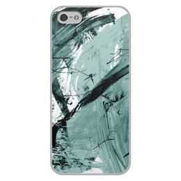 """Чехол для iPhone 5/5S, объёмная печать """"волна"""" - голубой, волна, краски, хаос"""