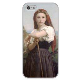 "Чехол для iPhone 5/5S, объёмная печать ""Юная пастушка (картина Вильяма Бугро)"" - картина, академизм, живопись, бугро, крестьянка"