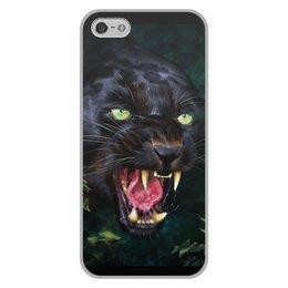 """Чехол для iPhone 5/5S, объёмная печать """"ПАНТЕРА. ФЭНТЕЗИ"""" - стиль, глаза, красота, клыки, ярость"""