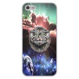 """Чехол для iPhone 5/5S, объёмная печать """"Кот в космосе"""" - кот, звезды, котенок, космос, коты в космосе"""