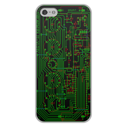 """Чехол для iPhone 5/5S, объёмная печать """"Печатная плата"""" - электрика, электроника, технологии, печатная плата, микросхема"""