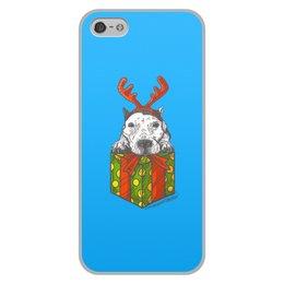 """Чехол для iPhone 5/5S, объёмная печать """"новый год"""" - новый год, зима, собака, подарок, год собаки"""