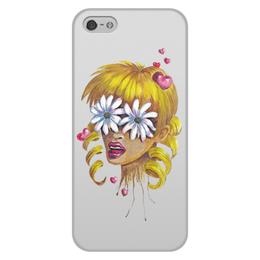 """Чехол для iPhone 5/5S, объёмная печать """"Без ума от цветов"""" - любовь, девушка, цветы, сердца, блондинка"""