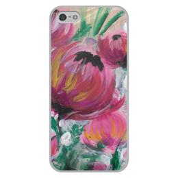 """Чехол для iPhone 5/5S, объёмная печать """"Полевые цветы"""" - лето, цветы, весна, розовый, подарок"""