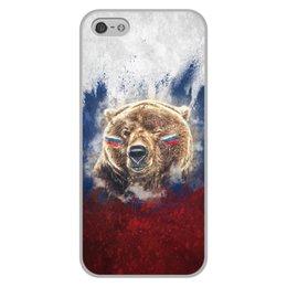"""Чехол для iPhone 5/5S, объёмная печать """"Русский Медведь"""" - футбол, медведь, россия, флаг, триколор"""