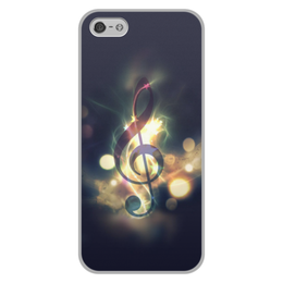 """Чехол для iPhone 5/5S, объёмная печать """"Музыка ночи"""" - музыка, ночь, нота"""