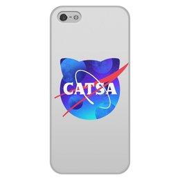 """Чехол для iPhone 5/5S, объёмная печать """"Catsa"""" - cat, космос, nasa, наса, catsa"""
