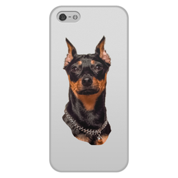 """Чехол для iPhone 5/5S, объёмная печать """"Зоркий взгляд"""" - животные, собака, пинчер, собакадруг, черный нос"""