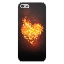 """Чехол для iPhone 5/5S, объёмная печать """"Огненное сердце"""" - сердце, любовь, огонь, страсть, чувства"""